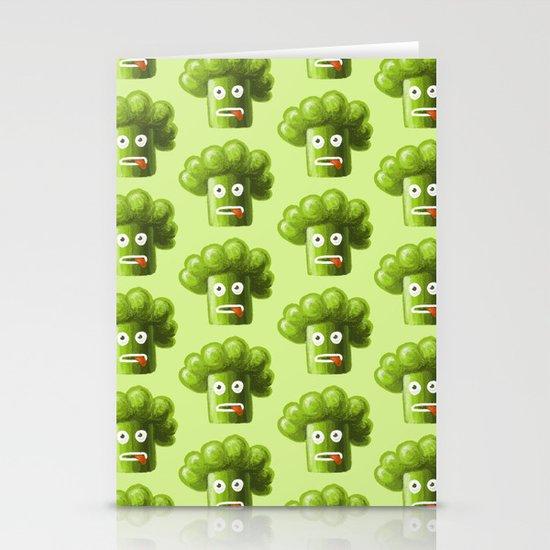 Green Funny Cartoon Broccoli Stationery Cards