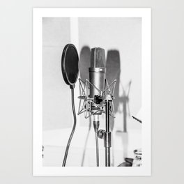 Microphone black and white Art Print