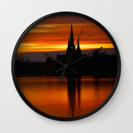 Fiery Sunset Reflection At The The Lichfield Cathedral Wall Clock