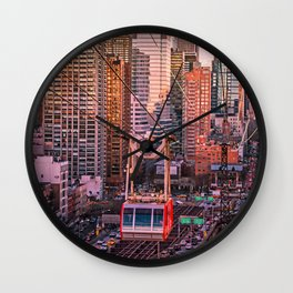 New York City - Skyscrapers and Tram Wall Clock