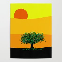 Tree in a yellow landscape Poster