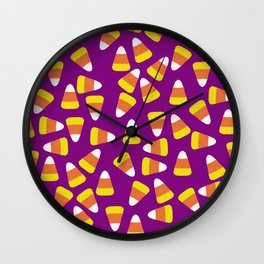Candy Corn Jumble (purple background) Wall Clock