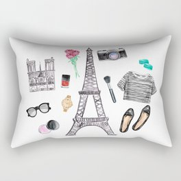 Watercolor Paris Fashion Items - Eiffel Tower Rectangular Pillow