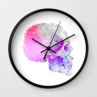 low poly Wall Clocks featuring Low poly skull by Li9z