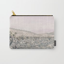 Mojave Pink Dusk // Desert Cactus Landscape Soft Cloudy Sky Mountain Scape Photograph Carry-All Pouch