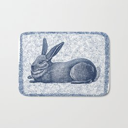 Rabbit print, Vintage Rabbit, Animal Wall Art Bath Mat