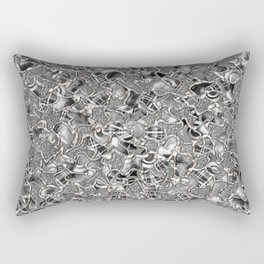 Retro Black and White Abstract Mosaic Tiles Pattern Rectangular Pillow
