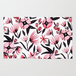 Black and Peach Flowers - Watercolor Pattern Rug