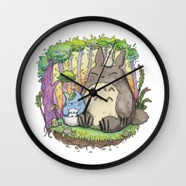 My neighbour Grey Fluffy monster water color Wall Clock