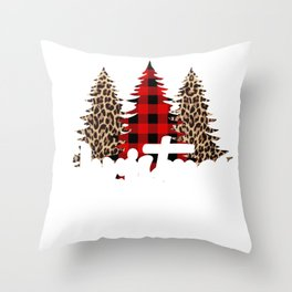 Christmas Break Merry Christmas Trio of Trees Leopard Print Tree Buffalo Plaid Tree Throw Pillow