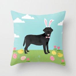 Black Lab labrador retriever dog breed pet art easter portrait costume spring Throw Pillow