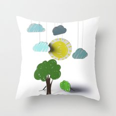 Sunny Day 3D Paper Craft Throw Pillow