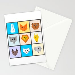 Minimalist Kawaii Animal Portraits Stationery Cards