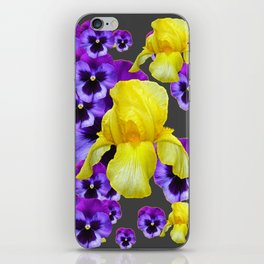 GREY  PATTERN YELLOW IRIS PURPLE PANSY iPhone Skin