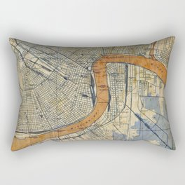 New Orleans Louisiana 1932 vintage map, NO old colorful artwork Rectangular Pillow