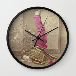 Japanese Woman Standing on her Head by Raimund von Stillfried Wall Clock