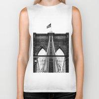 brooklyn bridge Biker Tanks featuring Brooklyn Bridge by Graham Dunk