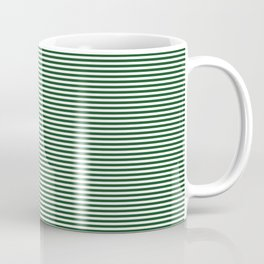 Thin Forest Green and White Rustic Horizontal Sailor Stripes Coffee Mug