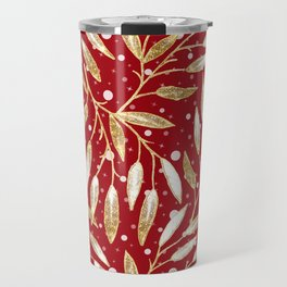 Christmas colorful pattern. Gold sprigs on a red background. Travel Mug