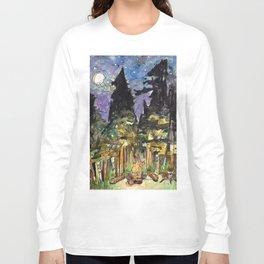 Campfire Under a Full Moon Long Sleeve T-shirt