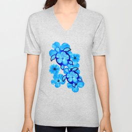 Blue Tropical Flowers And Honu Turtles Unisex V-Neck