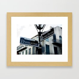 Dumaine and Bourbon - Street Sign in New Orleans French Quarter Framed Art Print