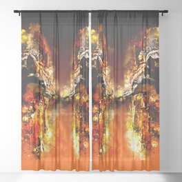 wolves hate monday splatter watercolor Sheer Curtain