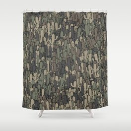 Camouflage cactuses Shower Curtain