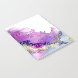 Emerging - abstract fluid painting, magenta, hot pink, navy, purple, gold Notebook