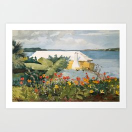 Flower Garden and Bungalow, Bermuda Art Print