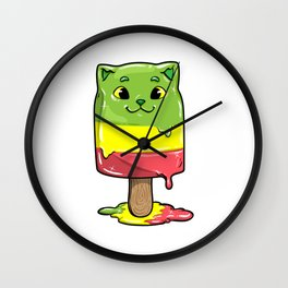 Cat with Popsicles Wall Clock