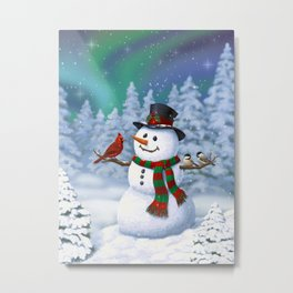 Cute Happy Christmas Snowman with Birds Metal Print