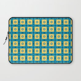 Pixelated Squares - Yellow and azure pattern Laptop Sleeve