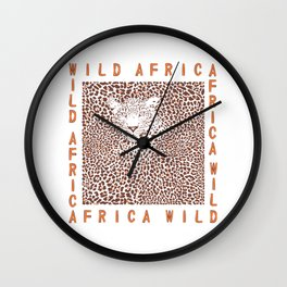 Background Leopard and text Wall Clock