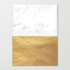 Color Blocked Gold & Marble Canvas Print