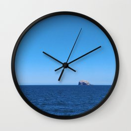 Scotland's Bass Rock, a Blue Sky and the North Sea Wall Clock