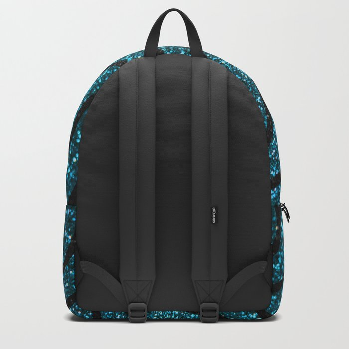 Blue Glitter With Black Squiggle Pattern Backpack