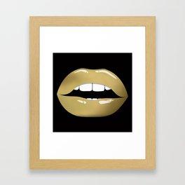 Luscious Golden Lips Framed Art Print