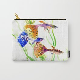 Guppy Fish colorful fish artwork, blue orange Carry-All Pouch