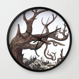 ANCIENT PINE SNAG VINTAGE PEN DRAWING Wall Clock
