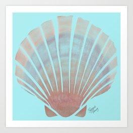 Beach Art Seashells 1.1 Aqua Art Print