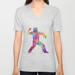 Baseball Player Softball Catcher Colorful Watercolor Sports Artwork Unisex V-Neck