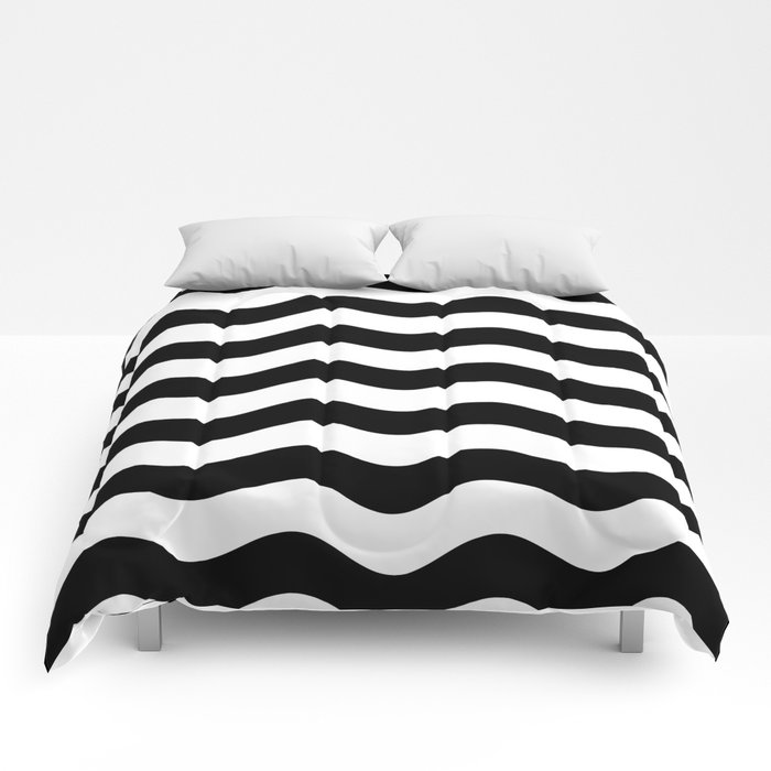 Wavy Stripes (Black/White) Comforters