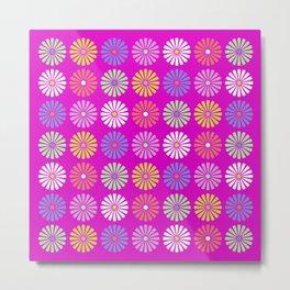 Pastel Flowers Pattern (On Purple/Pink) Metal Print