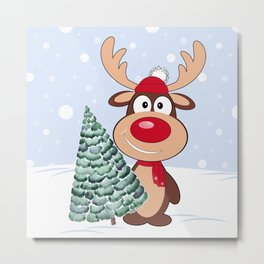 Merry Christmas. Funny reindeer with Christmas tree Metal Print