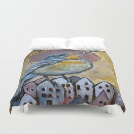 Sing over a city Duvet Cover