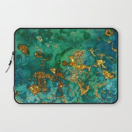 Malachite and Gold Glitter Stone Ink Abstract Gem Glamour Marble Laptop Sleeve