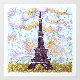Eiffel Tower Pointillism by Kristie Hubler Art Print