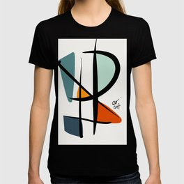Abstract Minimal Lyrical Expressionism Art Blue Orange T-shirt