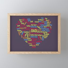 Fathers day word cloud for dad or daddy gift Framed Mini Art Print